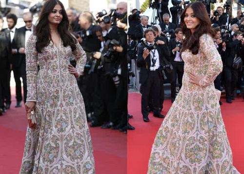 Aishwarya Rai at the premiere of  Blood Ties wearing Abu Jani-Sandeep Khosla. FASHION FAIL!
