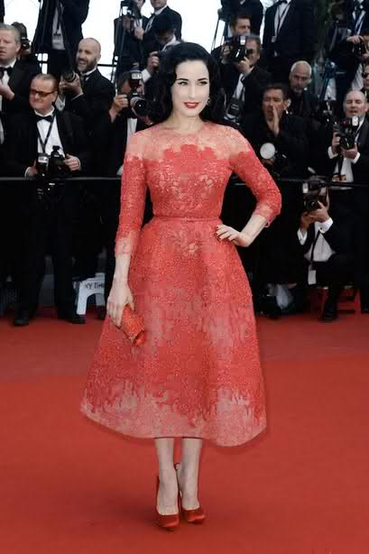 Dita Von Teese lookin Beautiful in a red Elie Saab Couture spring 2013 cocktail Gown.
