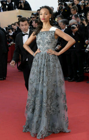 Zoe Saldana in Valentino at the Cannes 2013 Premier of Blood ties