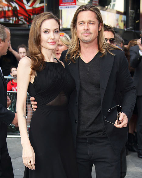 Angelina Jolie with  Brad Pitt at World War Z Premiere