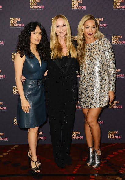 Beyonce,Salma Hayek and  Gucci's creative director Frida Giannini