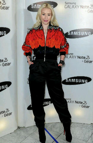 Iggy Azaleas is at the Samsung Galaxy 3 Preview Launch in a Vionnet Jacket and Satin Trousers