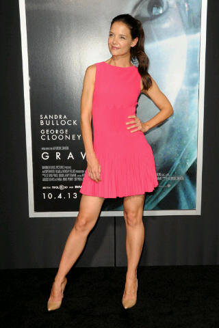 "Katie Holmes also at the premiere of ""Gravity"" in New York City in an Azzedine Alaïa dress"