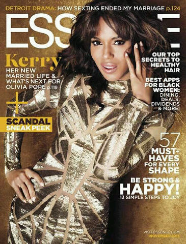 Kerry Washington covers Essence Magazine's November issue, wearing a gold Rafael Cennamo Couture