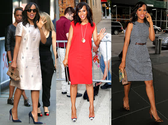 I loved all 3 dresses Kerry Washington wore for her appearances yesterday.