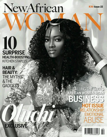 Oluchi is Cover girl for New African Woman Magazine wearing Mustafa Hassanali shot by Remi Adetiba