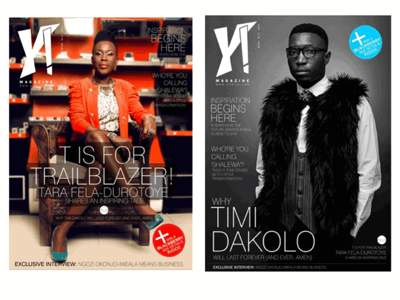 Timi Dakolo and Tara Durotoye both cover the new edition of Y! Magazine
